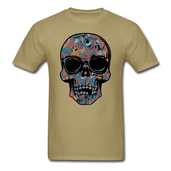 Colorful Single Skull T-Shirt - khaki