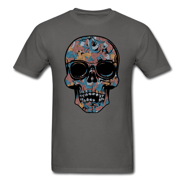 Colorful Single Skull T-Shirt - charcoal