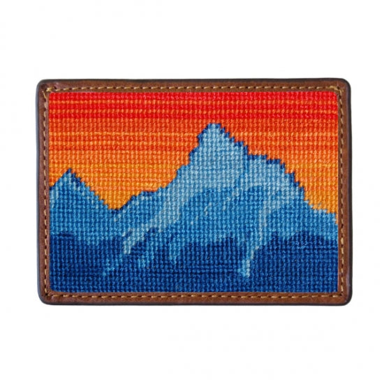 Mountain Sunset Needlepoint Card Wallet