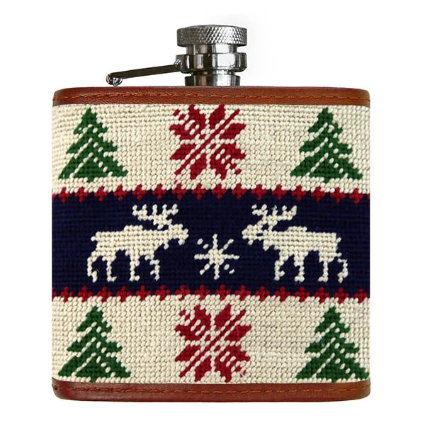 Christmas Moose Needlepoint Flask