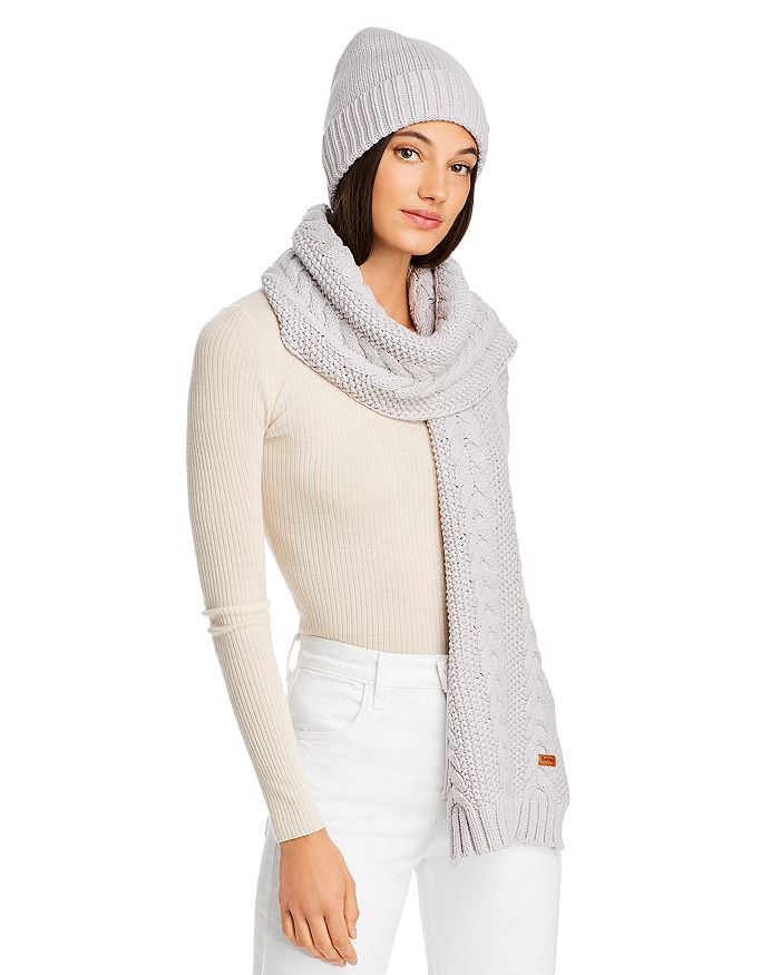 Cable-Knit Scarf and Beanie Set in Ice White