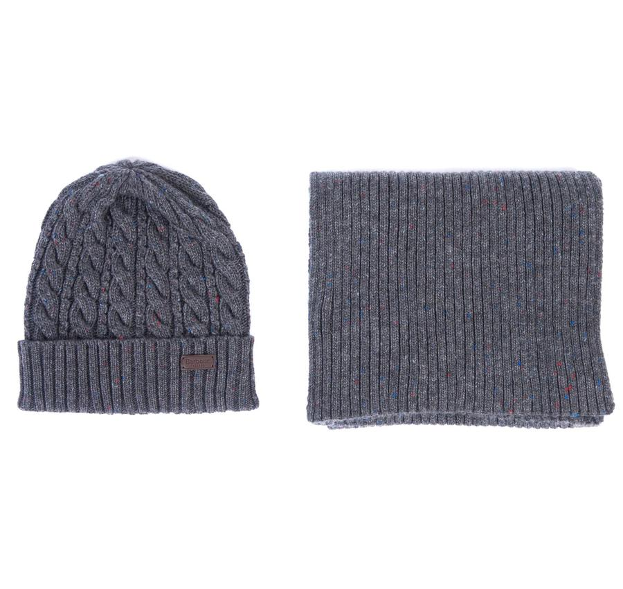 Beanie and Scarf Gift Set in Charcoal