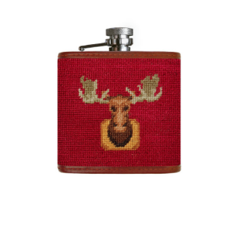 Needlepoint Flask // Moose - Mick & Kip - 1