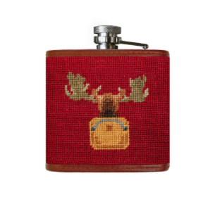 Needlepoint Flask // Moose - Mick & Kip - 2