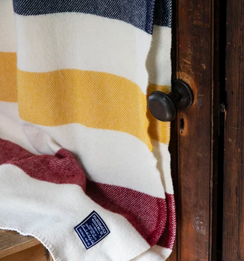 Revival Stripe Wool Throw in White