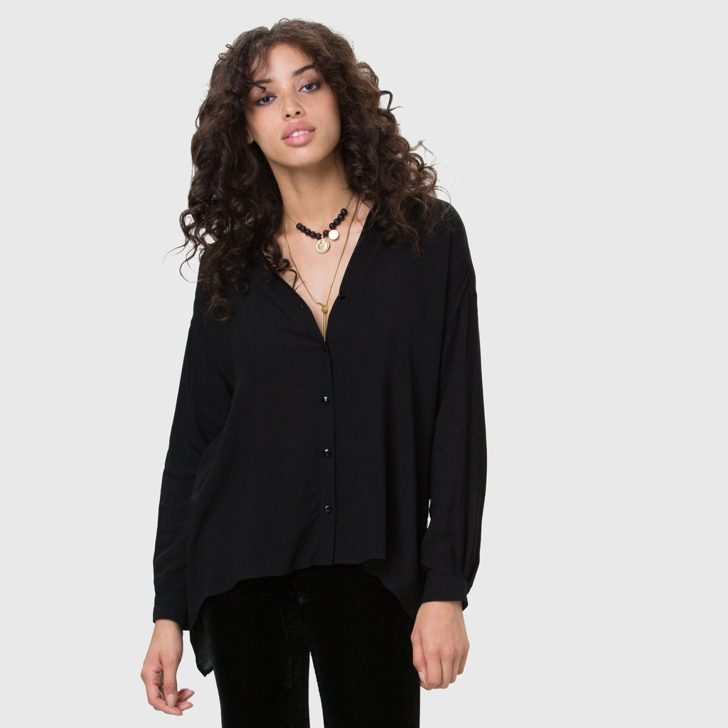 YSTR Ceres Blouse - Oversized Rayon Petal Back Blouse Front