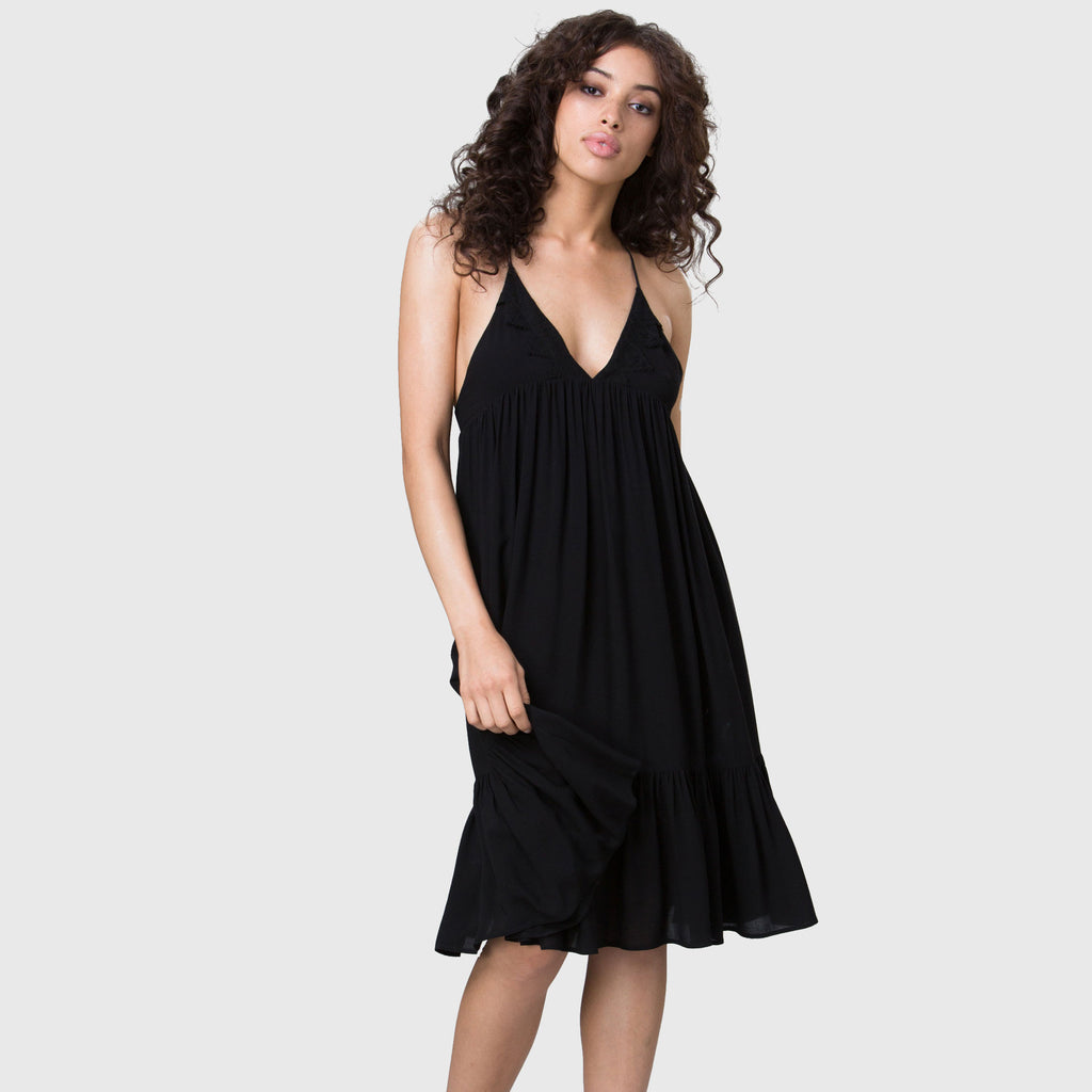YSTR Emmeline Dress- Flowy Black Rayon Trapez Dress With Lace Applique Front