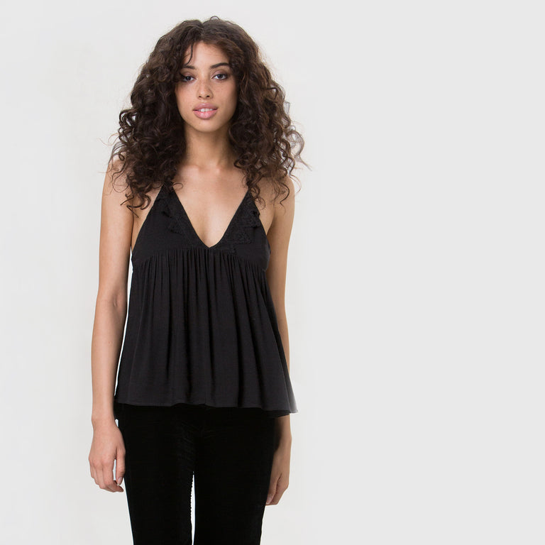 YSTR Emmie Cami- Black Trapeze Rayon Cami With Lace Applique Front