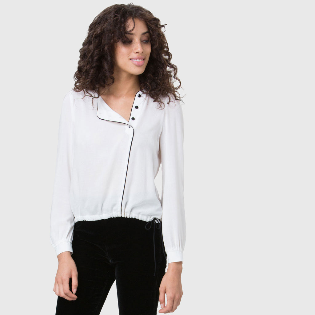 YSTR Hepburn Blouse- White Asymmetric Button Front Blouse With Silk Piping Front