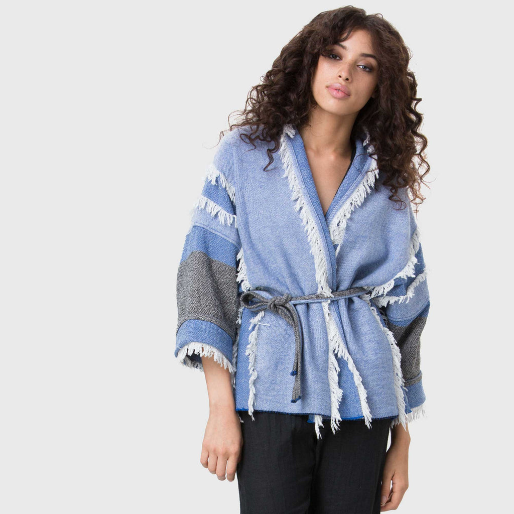 YSTR Inez Jacket- Oversized Baja Inspired Poncho Fringe Jacket With Belt Styled