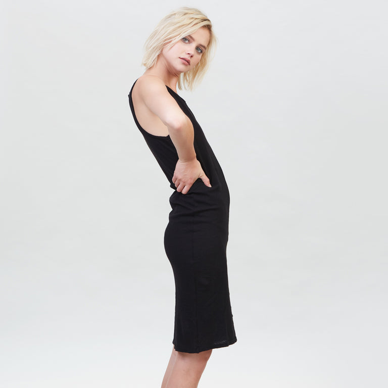 YSTR Charlotte Dress - Basic Black Cotton Muscle Tank Dress Side