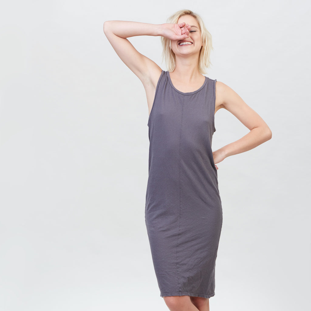 YSTR Charlotte Dress - Basic Grey Cotton Muscle Tank Dress Front