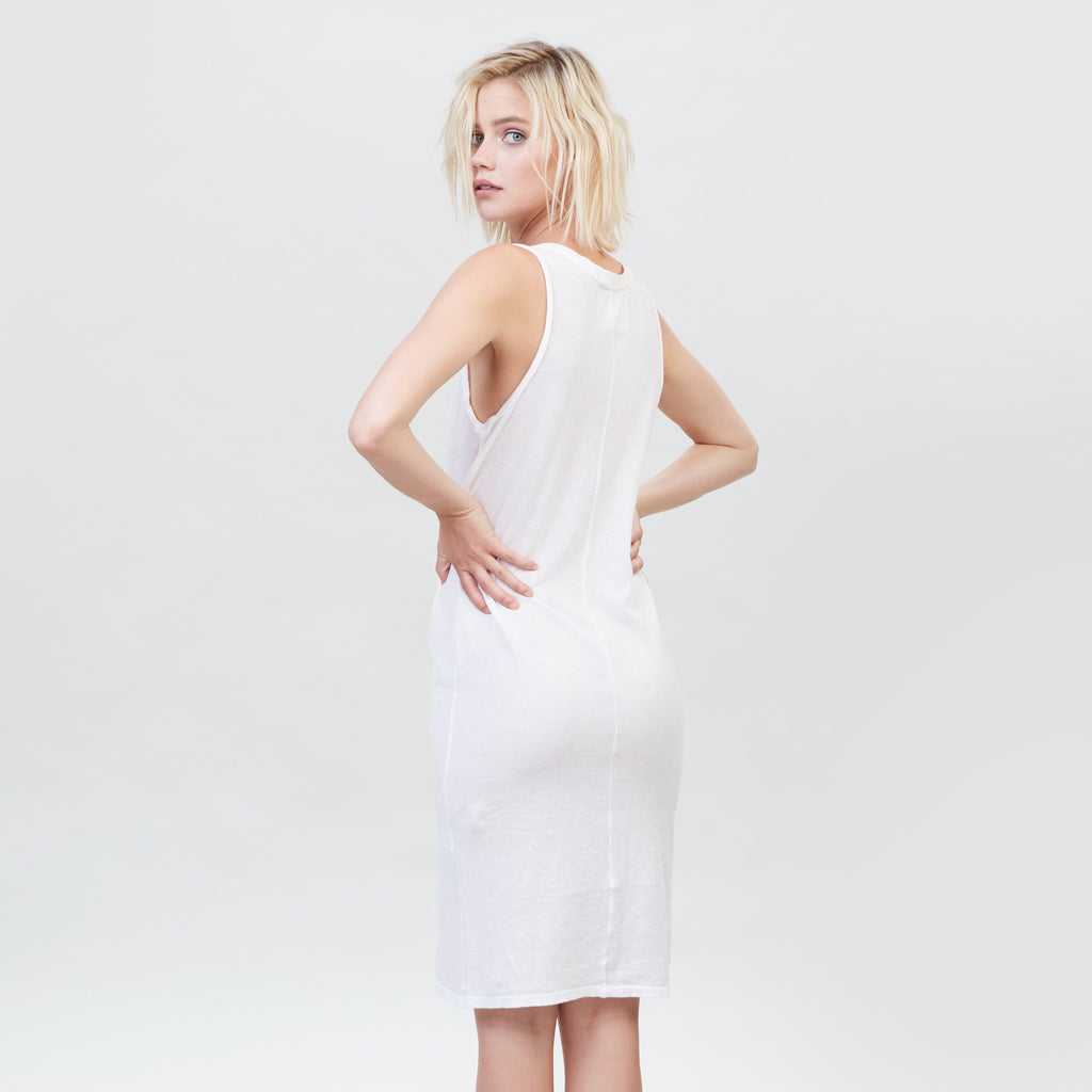 YSTR Charlotte Dress - Basic White Cotton Muscle Tank Dress Back