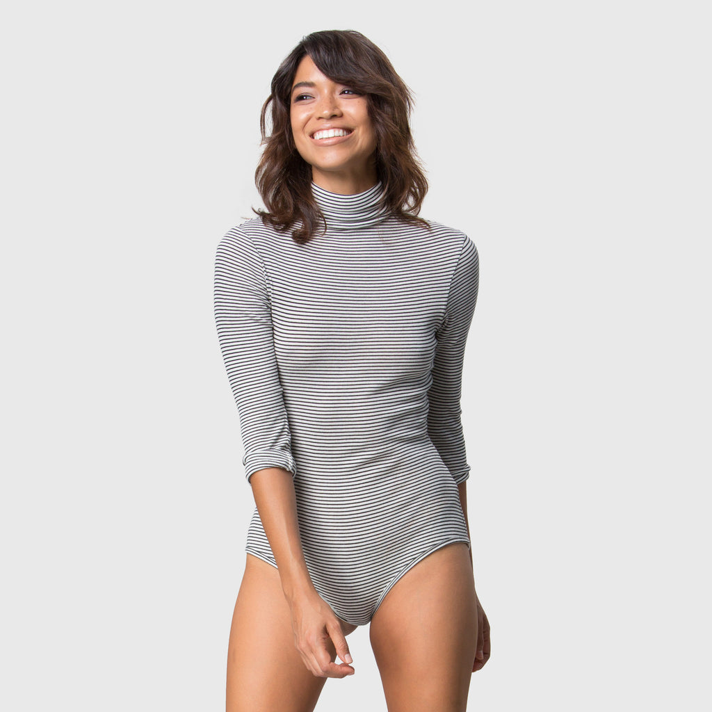 YSTR Elsie Bodysuit - Soft Cotton Jersey Striped Turtleneck Bodysuit Front