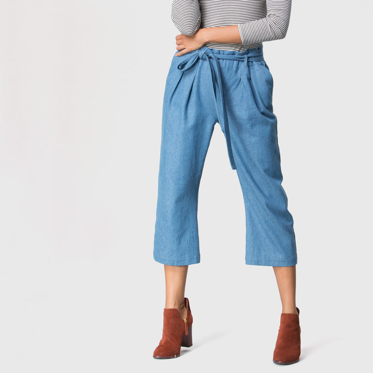 YSTR Jett Tie Pant (Denim) - Women's Cropped Denim Tie Pant Details