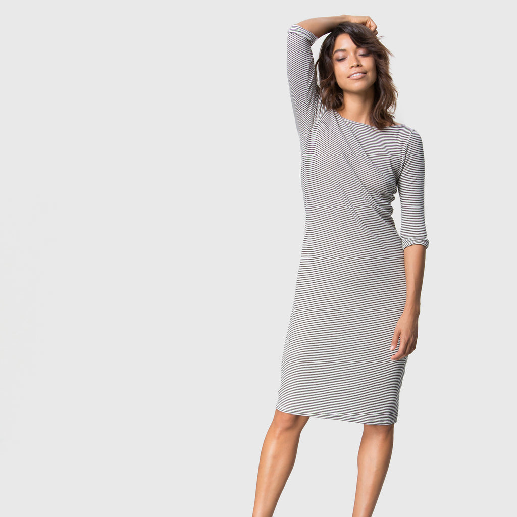 YSTR Esme Dress - Soft Cotton Jersey Striped Knee-Length Dress Styled
