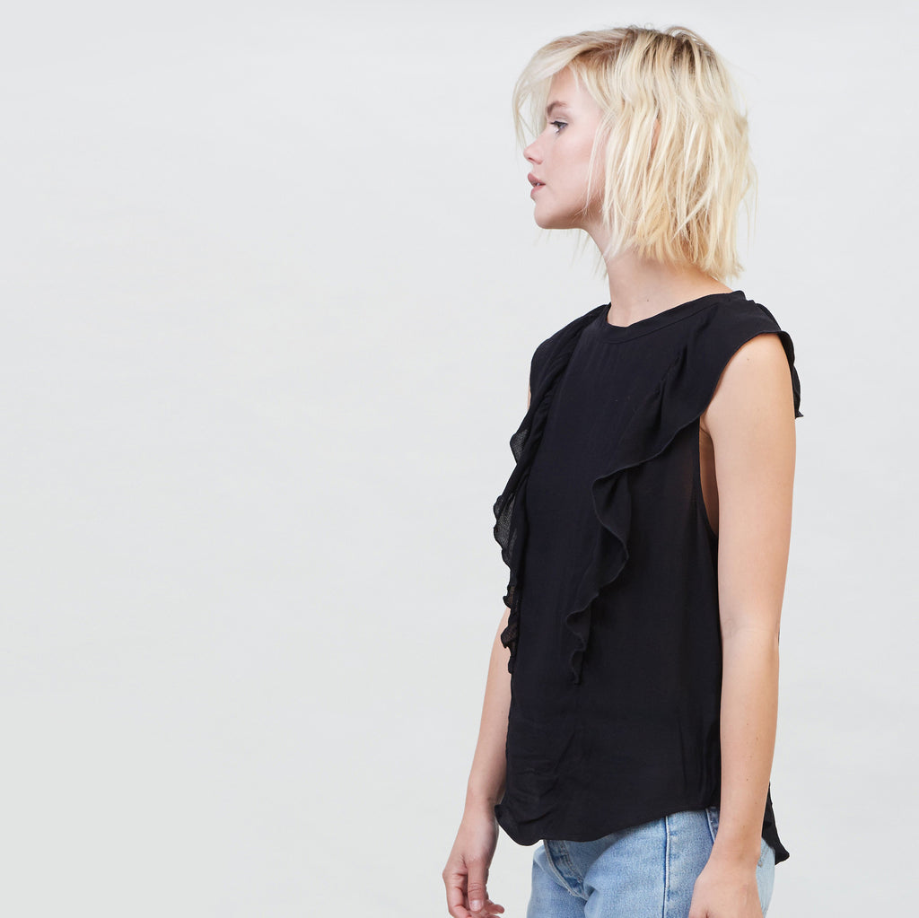 YSTR Seraphine Ruffle Top (Black) - Sleeveless Black Ruffle Top
