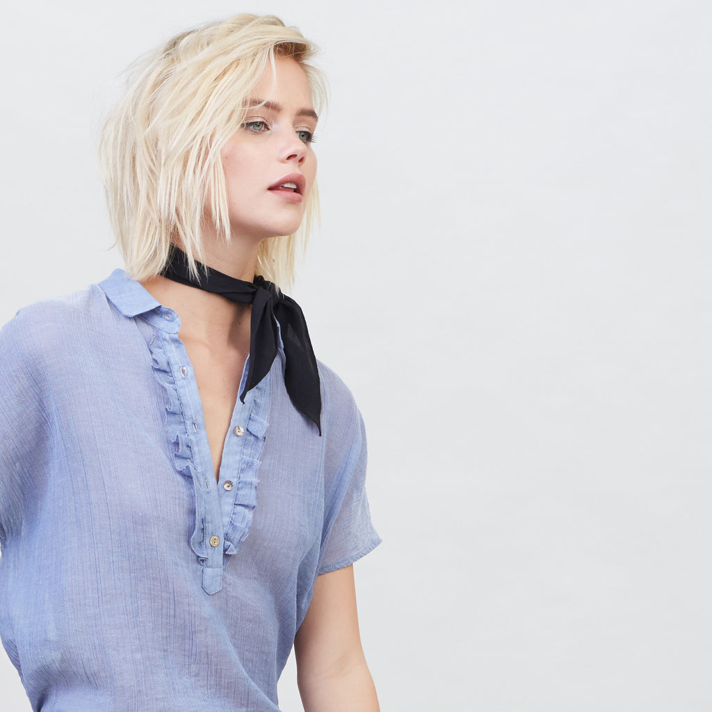 YSTR Anouk Ruffle Blouse (Blue) - Kimono-Sleeved Cotton Blue Ruffle Top Details