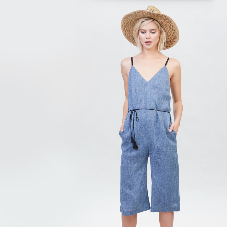 YSTR Hardy Jumpsuit (Denim) - Denim Sleeveless Culotte Women's Jumpsuit