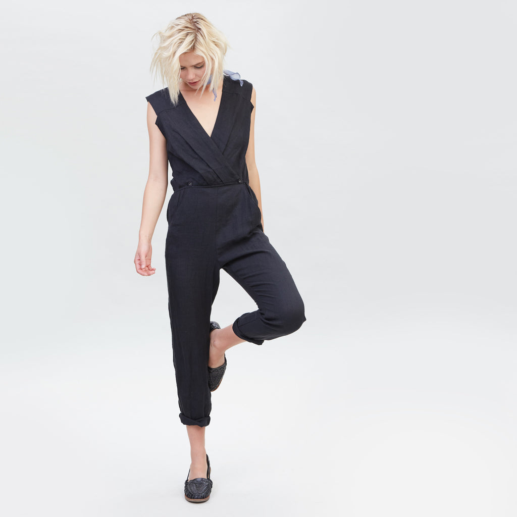 YSTR Lou Jumpsuit - Women's Black Sleeveless linen Jumpsuit Styled