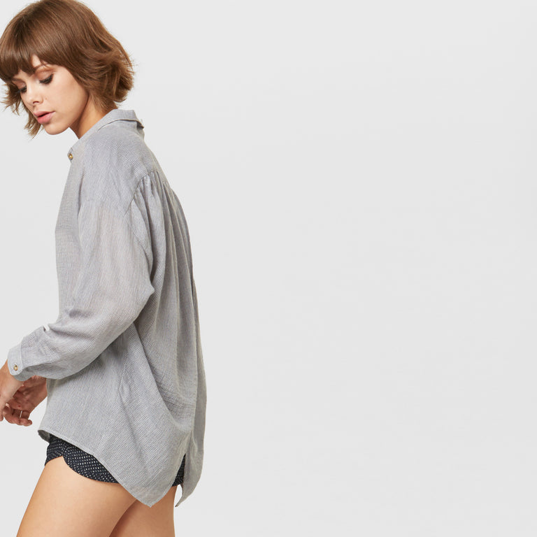 YSTR Chloe Blouse (Dust) - Oversized Cotton Petal Back Blouse Side