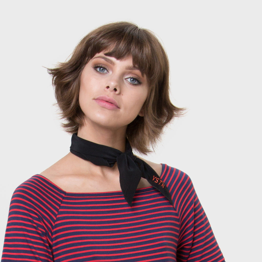 YSTR Amelie Neck Scarf - Black Silk Neck Scarf