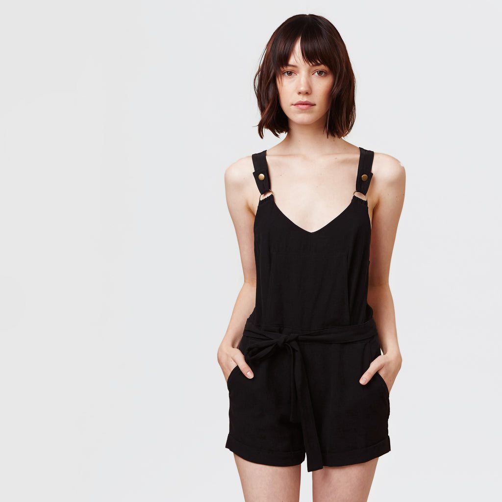 YSTR Ziggy Overall - Cross-Back Sleeveless Romper with Pockets