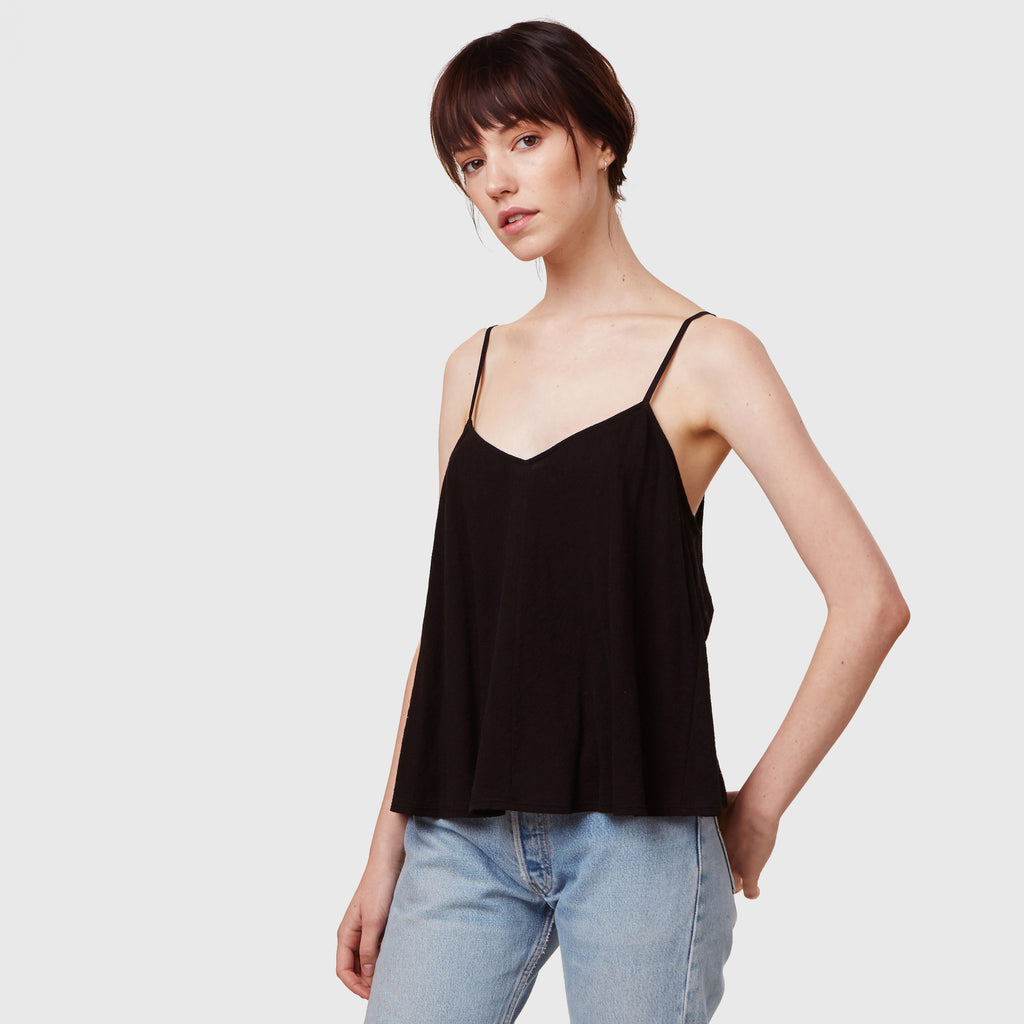 YSTR Maisie Cami- Women's Black Cotton Basic Trapeze Cami Top Styled