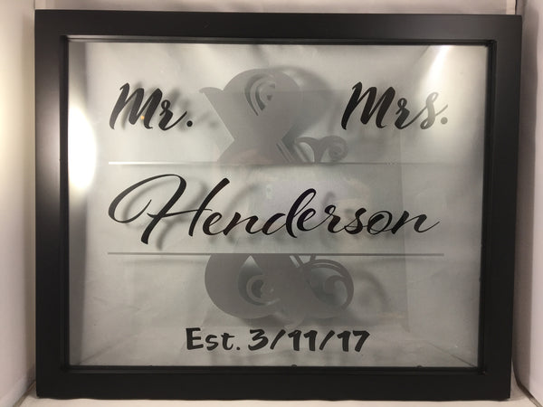 Split letter floating name frame
