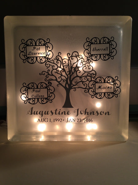 Memorial glass block - Unbreakable Memories