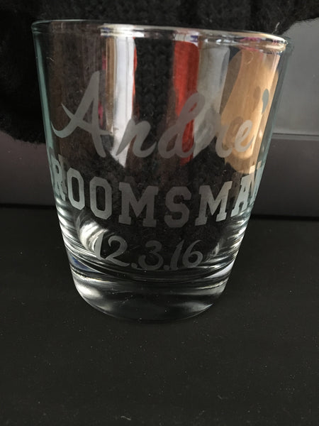 Etched men's cocktail glass