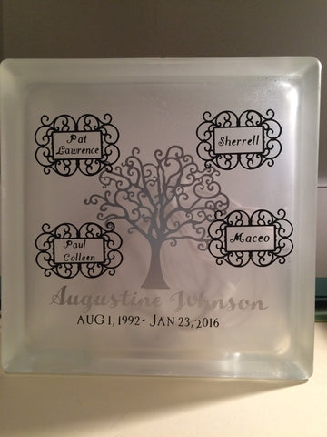 Memorial glass block