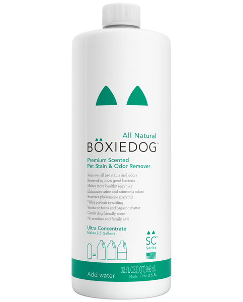 Boxiedog gently scented stain & odor remover 32 oz ultra concentrate bottle front