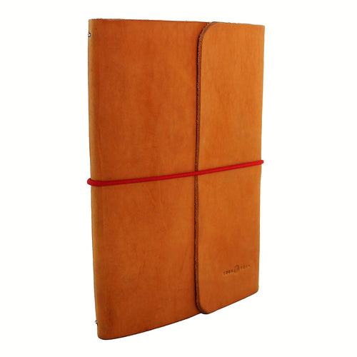 Full Grain Leather Notebook & Journal Natural Color. Red String. Front