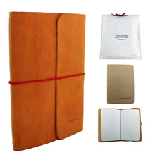 Full Grain Leather Notebook & Journal Natural Color. Red String. Pack