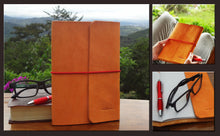 Full Grain Leather Journal in Natural Color with Banana Paper Notebook. Full Costa Rica View