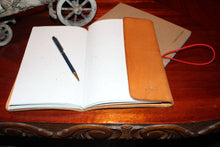 Full Grain Leather Journal in Natural Color with Banana Paper Notebook Open