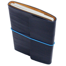 Leather Notebook & Journal Navy Blue. Blue String. Front