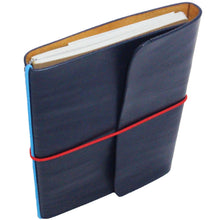 Leather Notebook & Journal Navy Blue. Red and Blue String