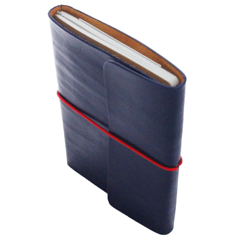 Full Grain Leather Notebook & Journal Navy Blue. Red String. Front