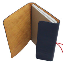 Leather Journal Navy Blue and Banana Paper Notebook In