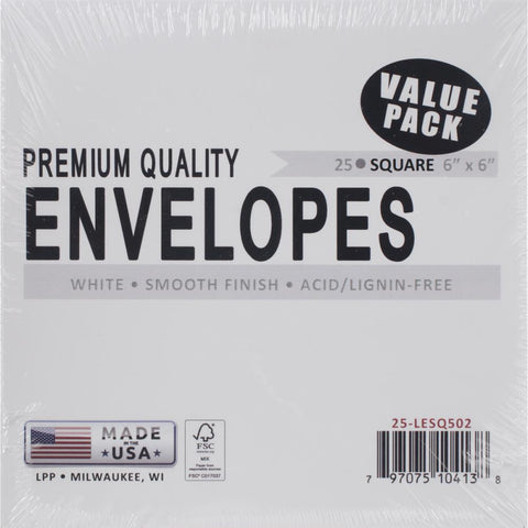 Leader Paper Envelopes - Square White - Value Pack