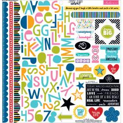 Bella BLVD. 12x12 Stickers - [Collection] - Treasures & Text -Just Add Color