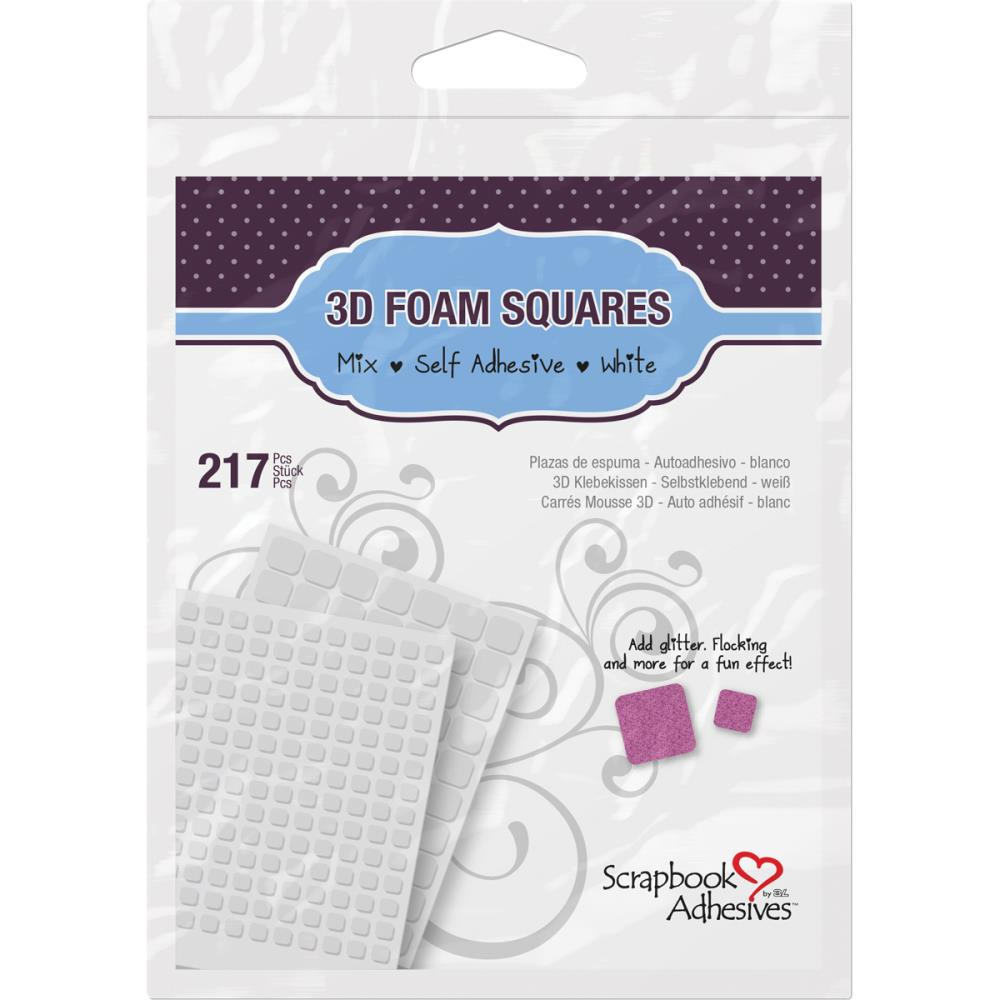 Scrapbook Adhesives - 3D Foam Squares - Mixed White