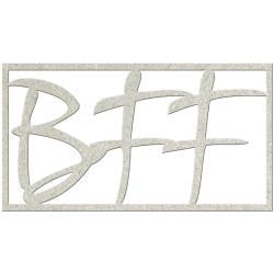 Fabscraps Die-Cut Grey Chipboard - BFF (word)