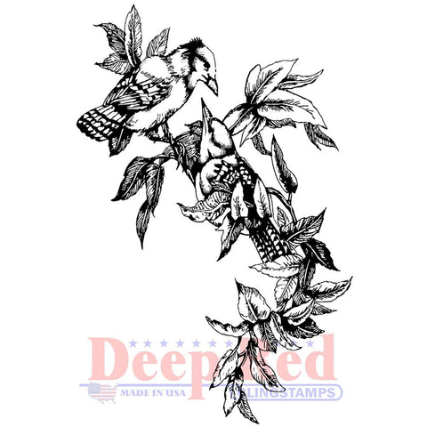 Deep Red Cling Stamp - Blue Jays