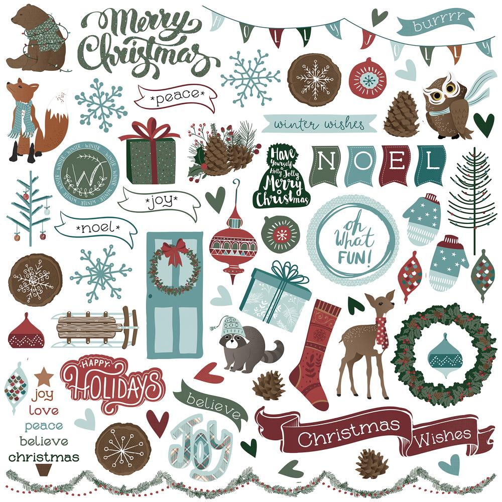 Photoplay 12x12 Stickers - #Think To Remember - Winter Meadow