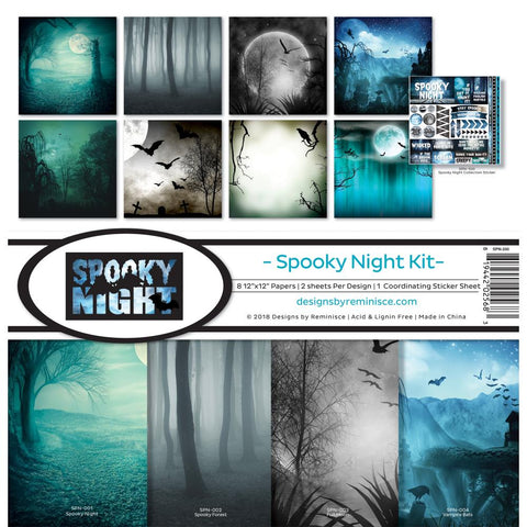 5 Sheets Reminisce Eerie Night Midnight Madness Scrapbook Paper