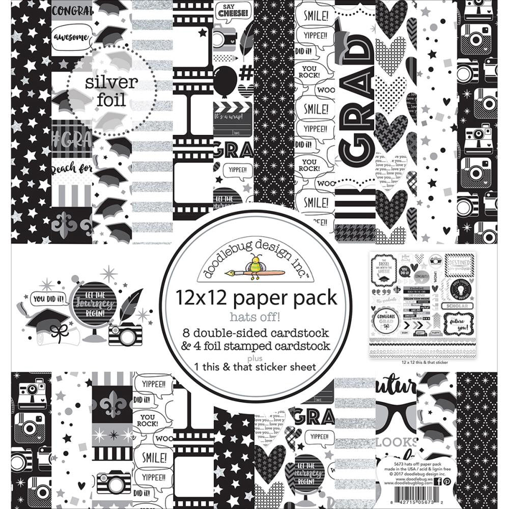 Doodlebug Design 12x12 Paper - [Collection] - Hats Off!