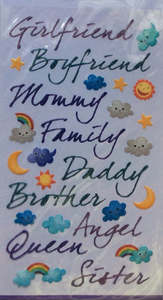 Forever In Time Clear Stickers - Family Words Script